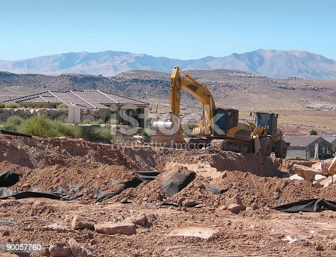 istock Excavator and Loader on a Construction Site 90057760