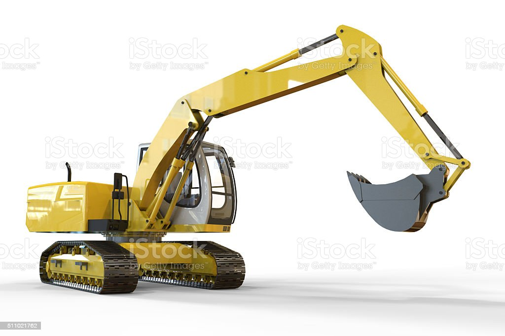 Excavator and white  Background stock photo