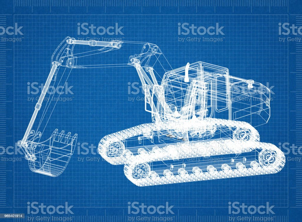 Excavator Architect blueprint royalty-free stock photo