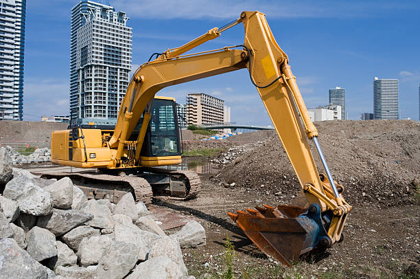 Excavator at a construction site stock photo