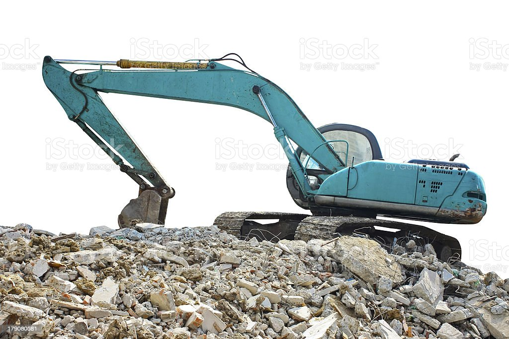 Excavator at Construction Site isolated on white royalty-free stock photo