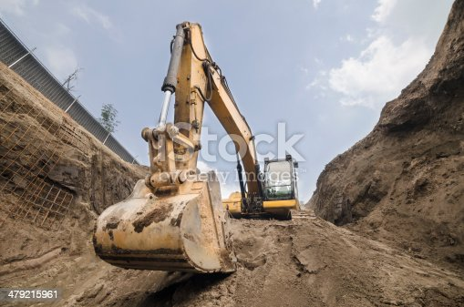 Big machinery used to excavate huge amounts of earth in construction sites.