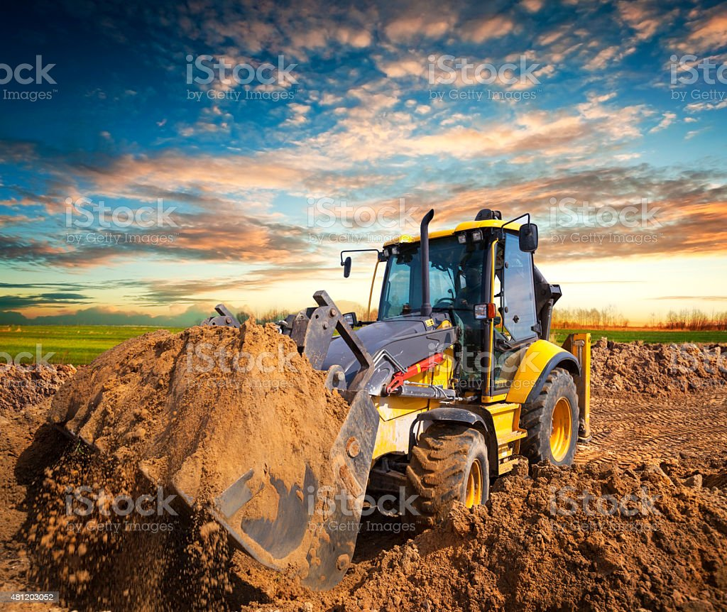 Excavator at construction site stock photo