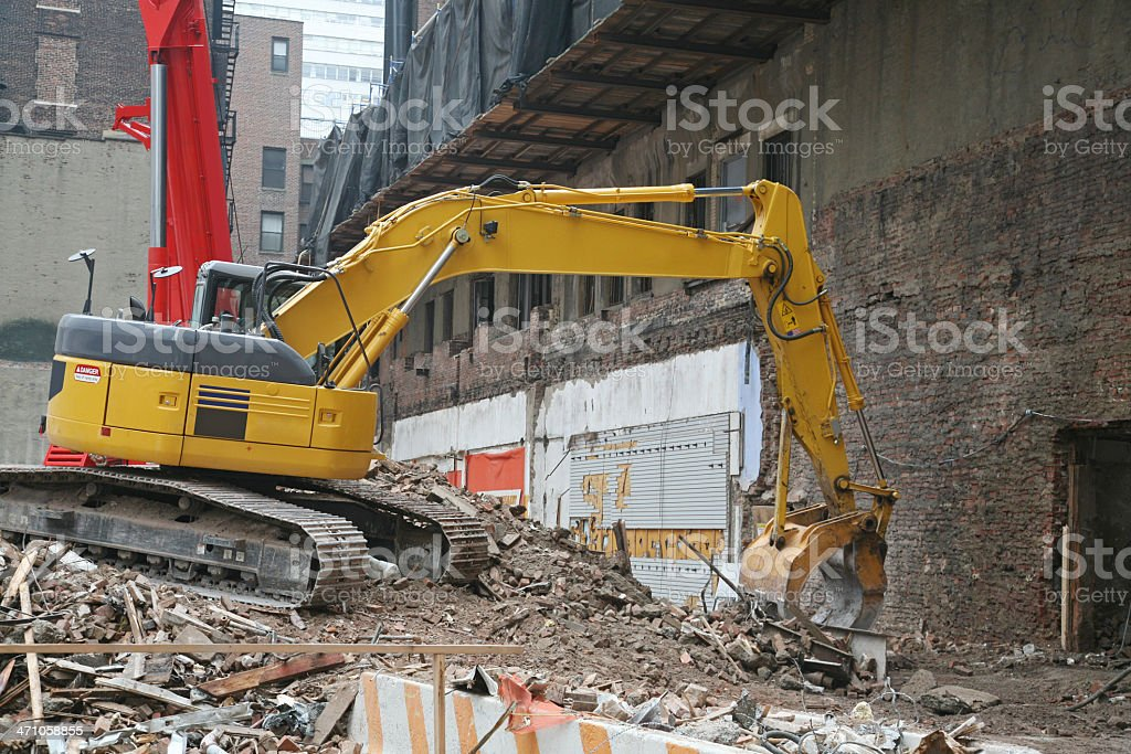 Excavator At Demolition Site royalty-free stock photo