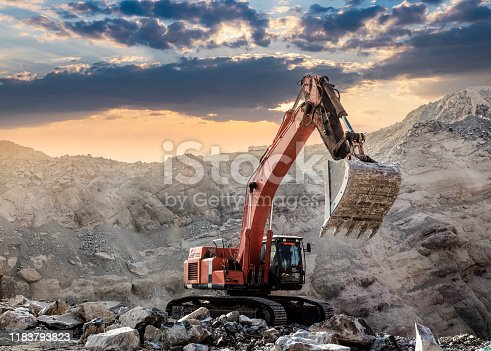 Excavator at Work at sunset