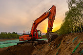 A excavator at work on a site