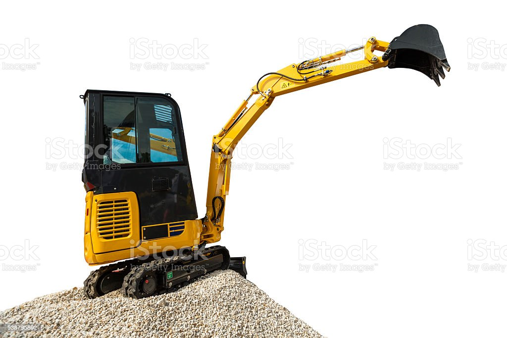 Excavator bulldozer and rocks, isolated on white with clipping p – Foto