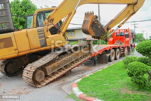 istock Excavator, bulldozer moving to construction site 636369932