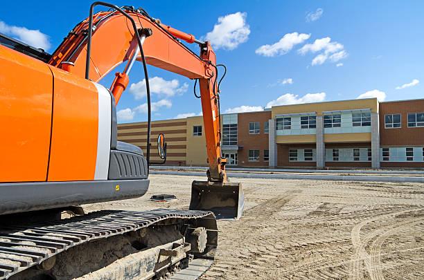 Excavator by New High School stock photo