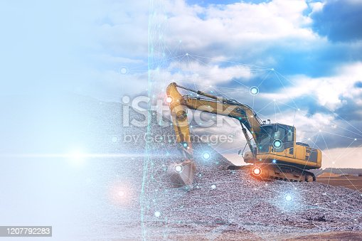 1136415363 istock photo excavator control during road construction using a wireless network. Processing and analysis of data using artificial Internet. Cloud Storage 1207792283