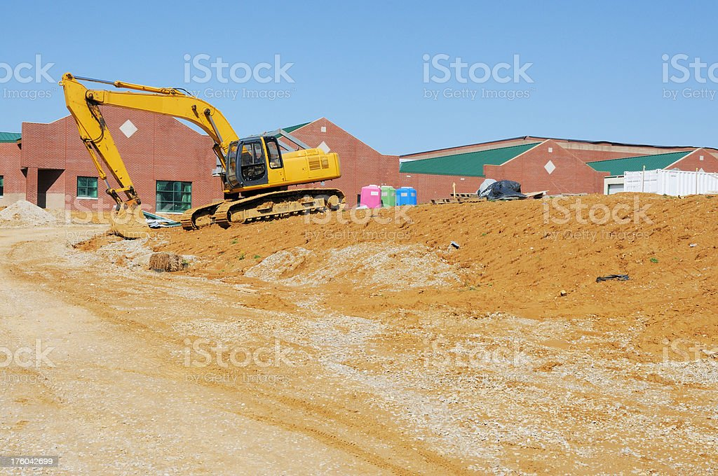 Excavator Heavy Equipment on Building Construction Site stock photo