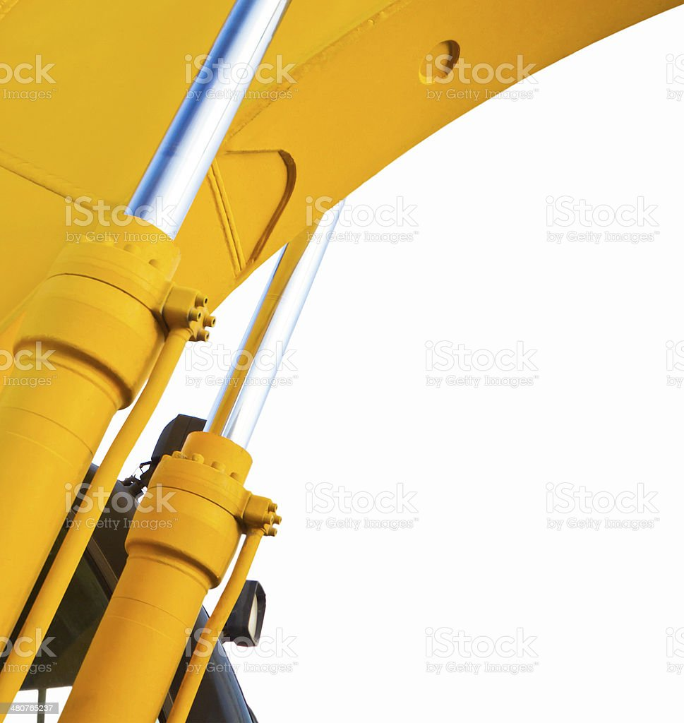 Excavator hydraulic cylinders (isolated) royalty-free stock photo