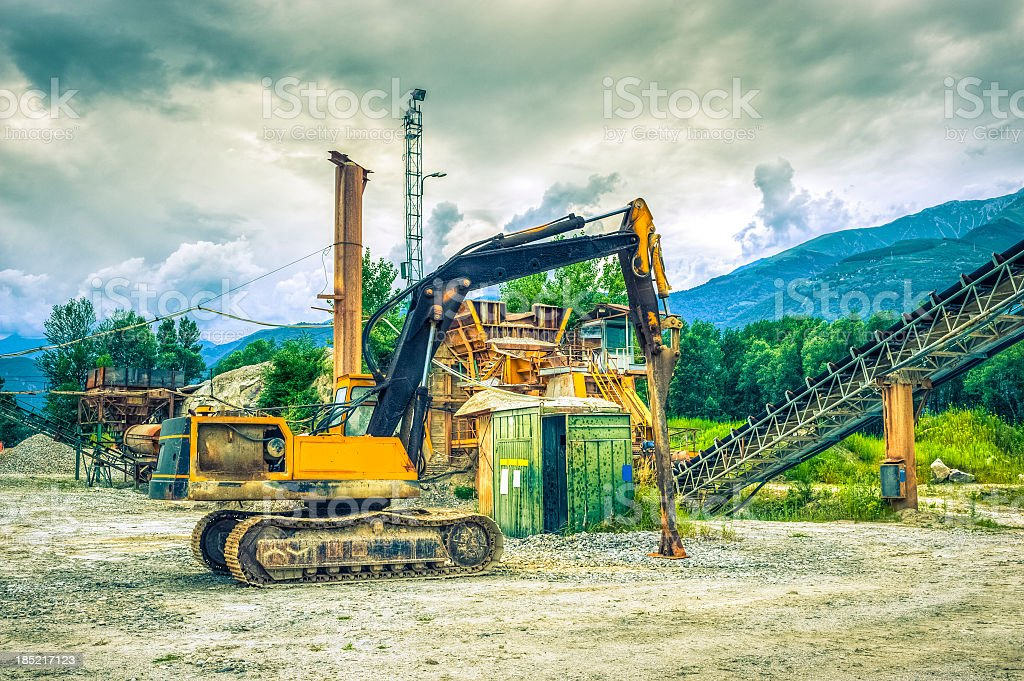 Excavator In A Construction Site royalty-free stock photo