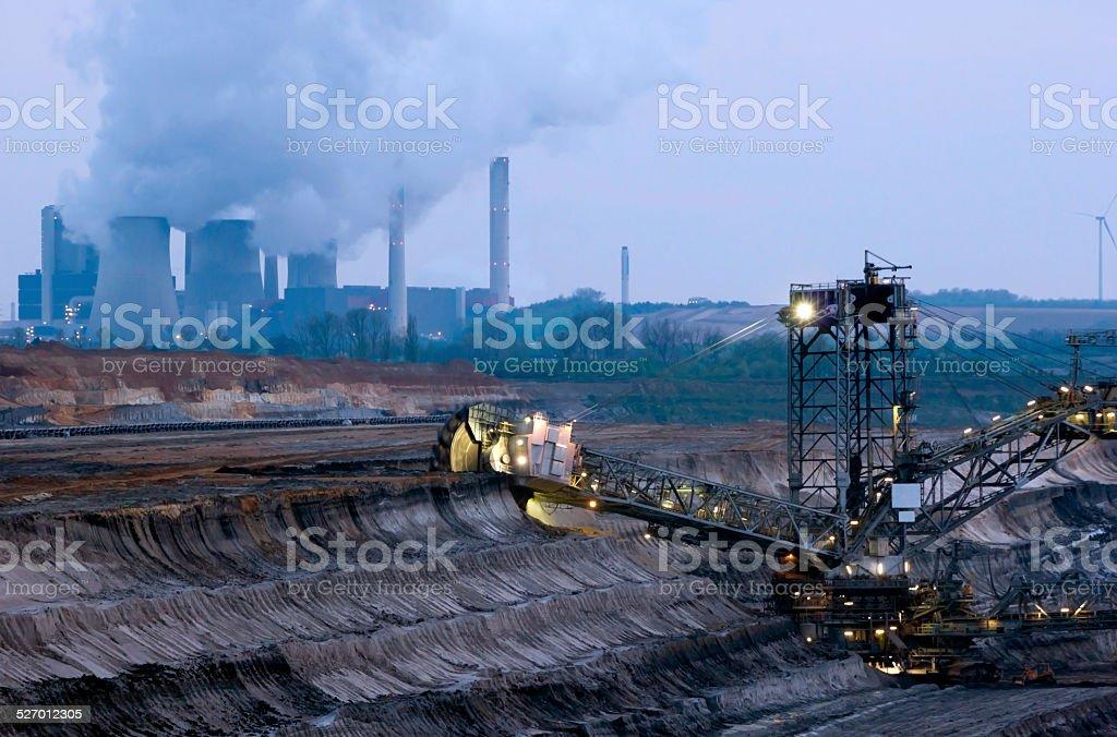 Excavator in a quarry stock photo