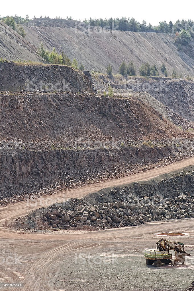 Excavator in surface mine quarry royalty-free stock photo