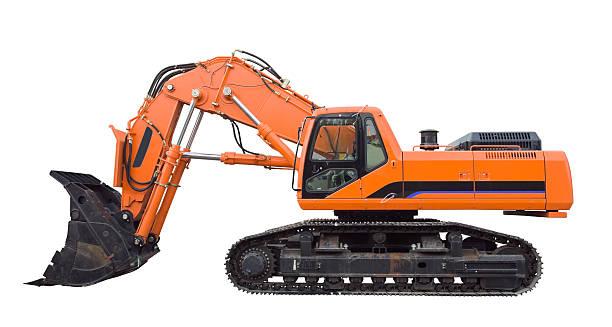 Excavator, Aislado en blanco - foto de stock