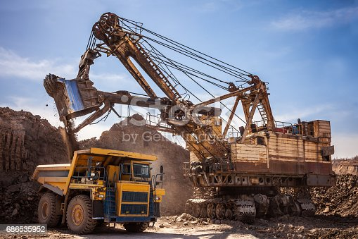 istock Excavator loading dump truck at coal mine 686535952