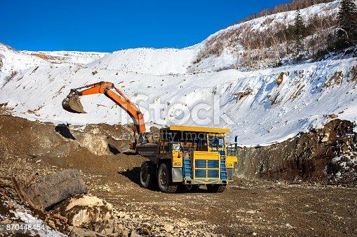 istock Excavator loading dump truck 870448454