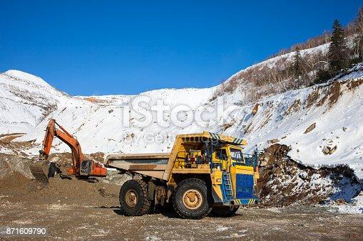 istock Excavator loading dump truck 871609790