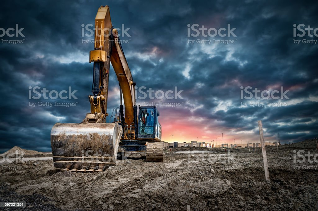 Bagger-Maschinen auf Baustelle Lizenzfreies stock-foto