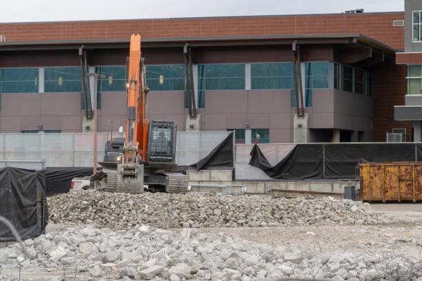 Excavator on Rubble stock photo