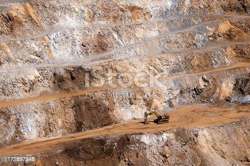 Excavator open cut iron ore mine in Turkey