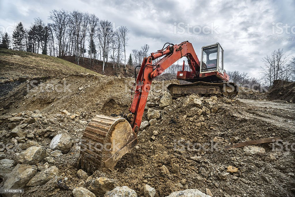 Excavator or Bulldozer at Construction Site royalty-free stock photo