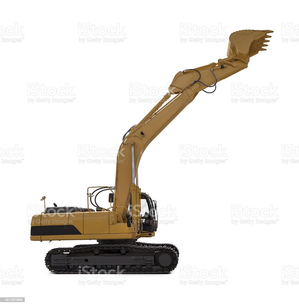 Excavator New, yellow and large excavator, isolated on white background. Color Image Stock Photo