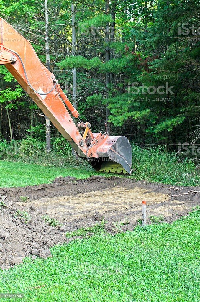 Excavator Stripping Topsoil stock photo