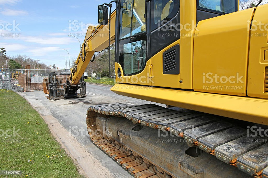 Excavator With Rubber Tracks stock photo