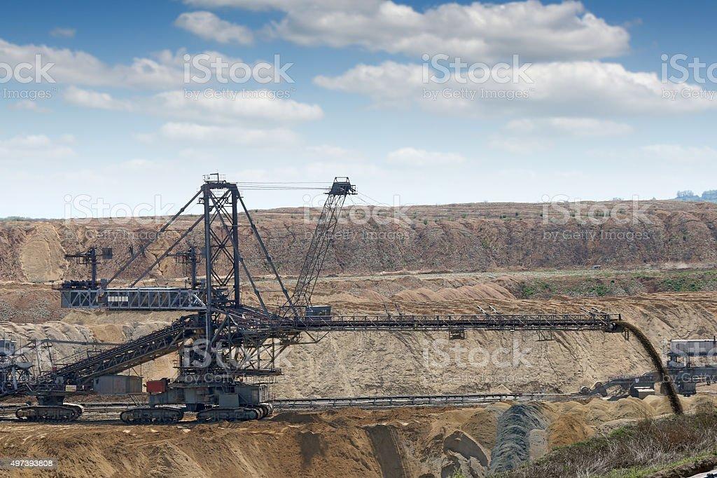 excavator working on open pit coal mine stock photo