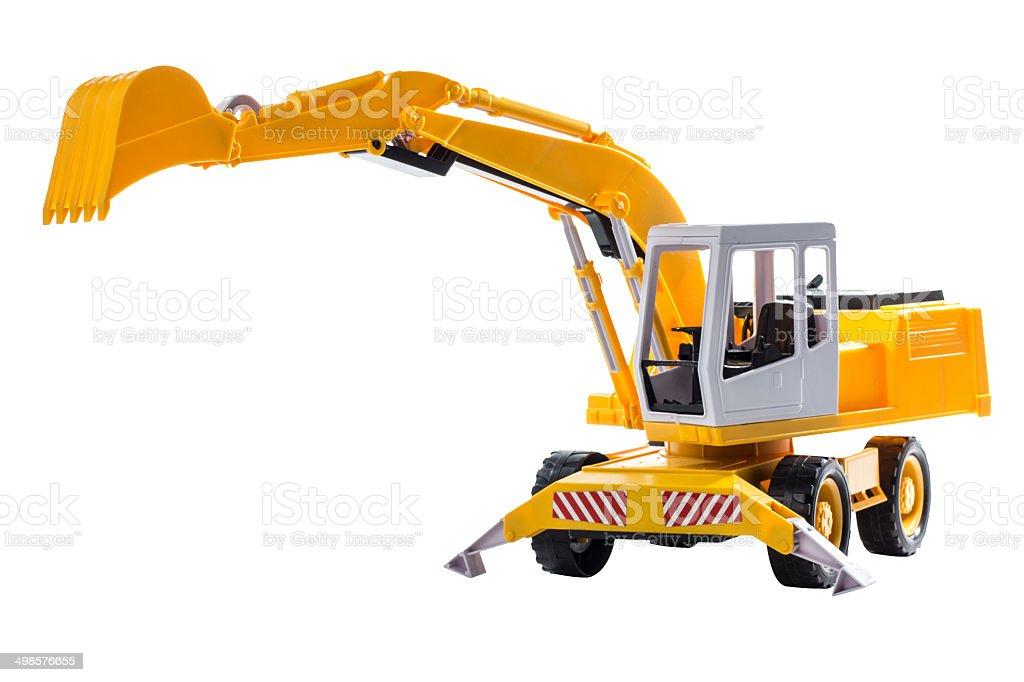 excavators construction machinery toy isolated on white backgro stock photo