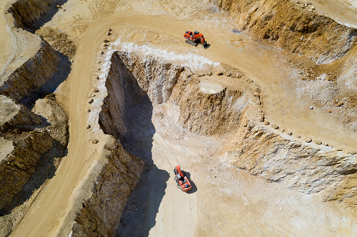 Aerial view of a gravel and sand quarry with two excavators.