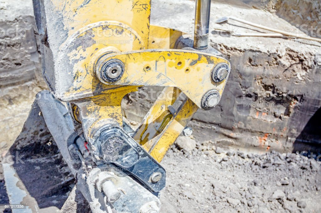 Excavator's tool, bucket, blade stock photo
