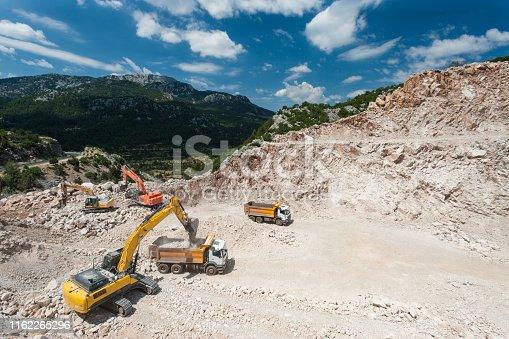 Excavators working on construction site