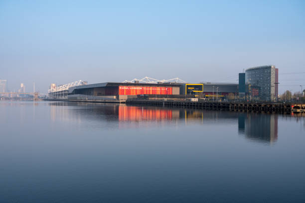 Excel conference center in London Docklands at sunrise stock photo