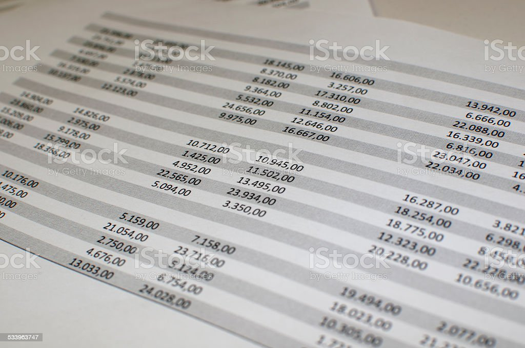 excel spreadsheet stock photo