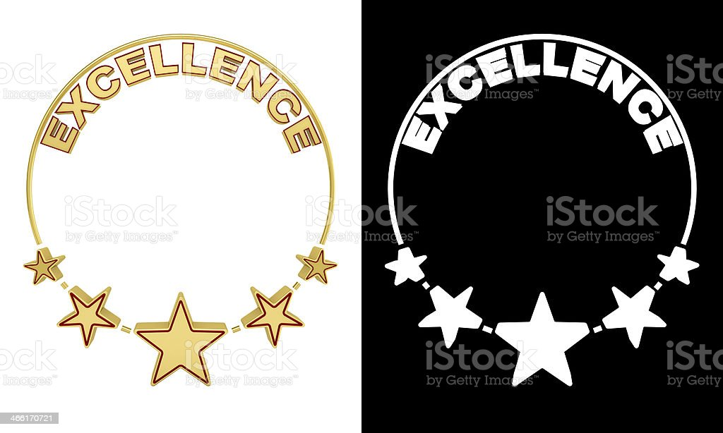 Excellence award with five stars stock photo