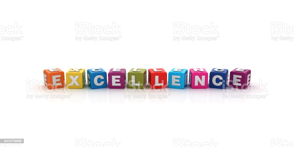 Excellence Buzzword Cubes - 3D Rendering stock photo