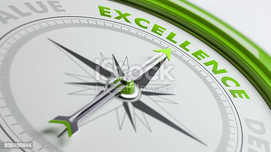 836284468 istock photo Excellence Concept: Arrow of A Compass Is Pointing Excellence Text 836486844