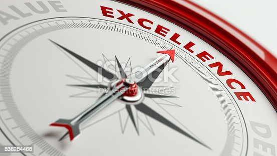 istock Excellence Concept: Arrow of A Compass Pointing Excellence Text 836284468