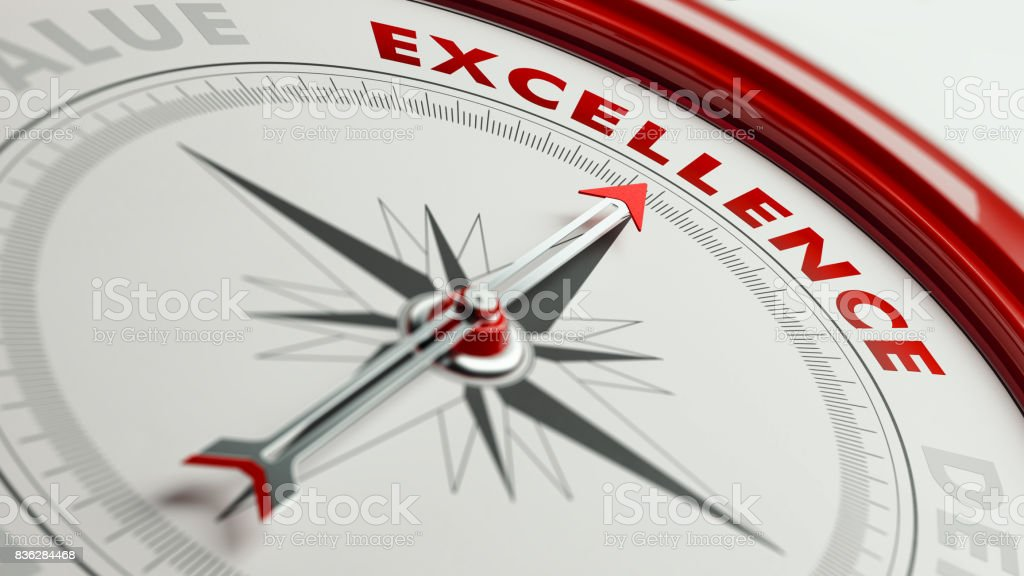 Excellence Concept: Arrow of A Compass Pointing Excellence Text stock photo