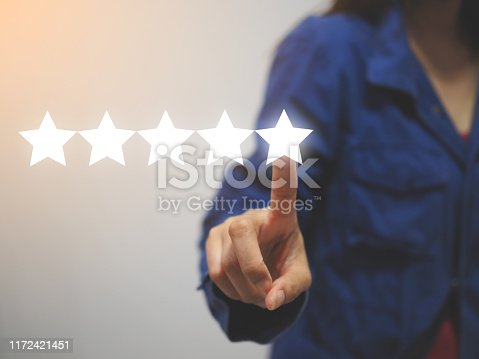 istock excellence rating online concept, customer 5 stars review, positive feedback of satisfied customer 1172421451
