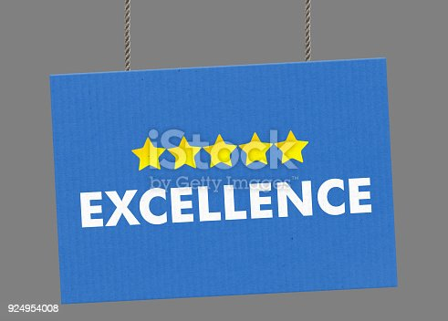 istock Excellense sign hanging from ropes. Clipping path included so you can put your own background. 924954008