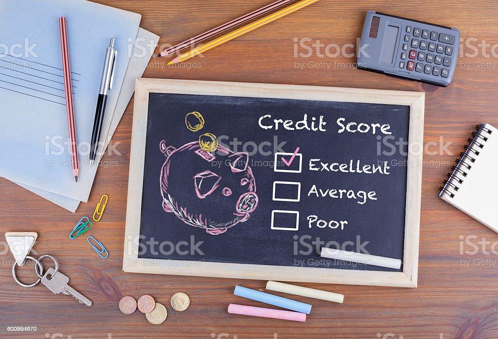 Excellent Credit Score concept stock photo