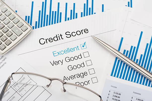 hervorragende credit score - bankhaken stock-fotos und bilder