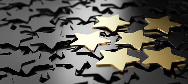 excellent customer service, 6 golden stars. - star shape stock photos and pictures