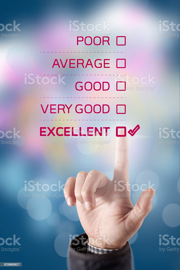 Excellent Customer Service Evaluation stock photo