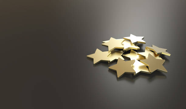 excellent customer service golden stars - star shape stock photos and pictures