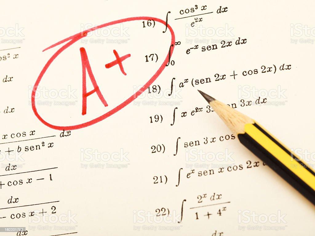 Excellent Grades On Exam Of Mathematics Stock Photo - Download Image Now - iStock
